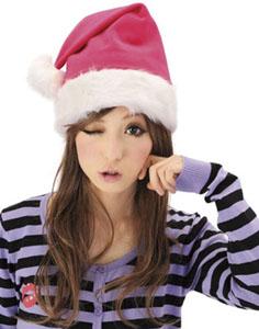 ピンクのサンタさん帽子